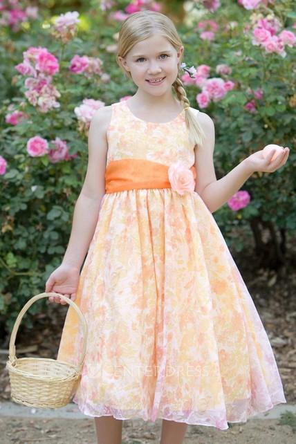 1e1c32f59 Tea-Length Floral Floral Organza Flower Girl Dress - UCenter Dress