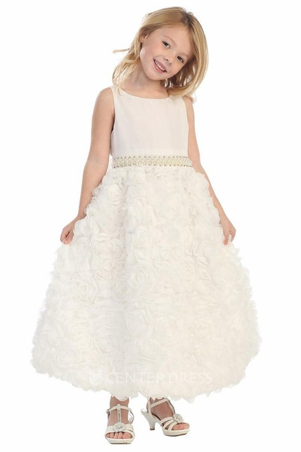 2c86a3e81aea5 Tea-Length Beaded Floral Chiffon&Lace Flower Girl Dress With Sash - UCenter  Dress