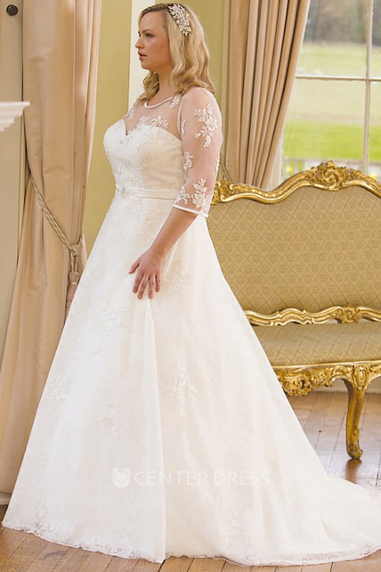 A-Line Scoop-Neck 3-4-Sleeve Lace Plus Size Wedding Dress With Illusion