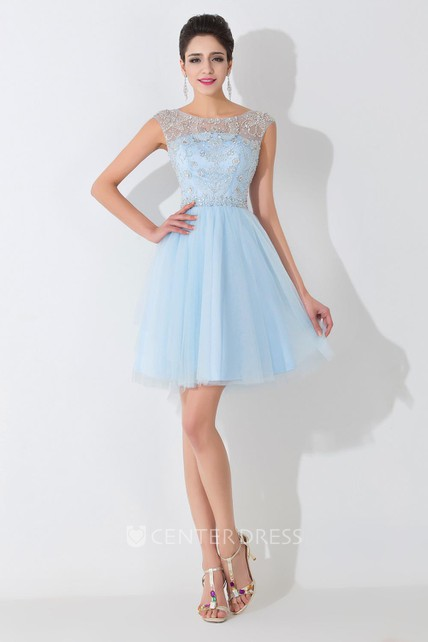 69a18d417e3 Glamorous Illusion Sleeveless Short Cocktail Dress With Crystals - UCenter  Dress