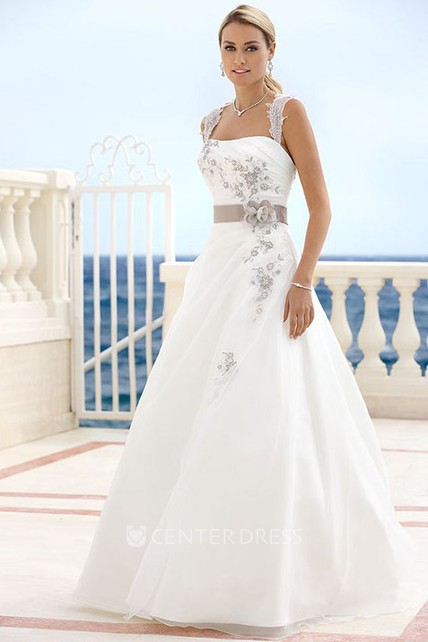 Floor-Length Straps Draped Floral Satin Wedding Dress With Ribbon And Keyhole
