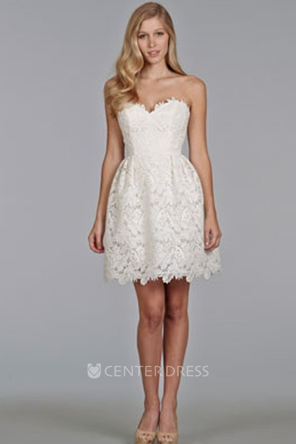 d8642d24f0db Enchanting Sweetheart Neckline Mini Lace Dress - UCenter Dress