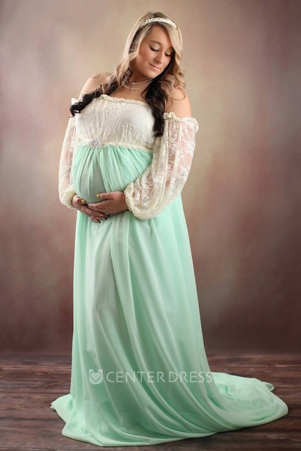 6ad5e6cc960e9 A-line Chiffon Lace Off-the-shoulder Long Sleeve Pleated Ruched Maternity  Dress - UCenter Dress
