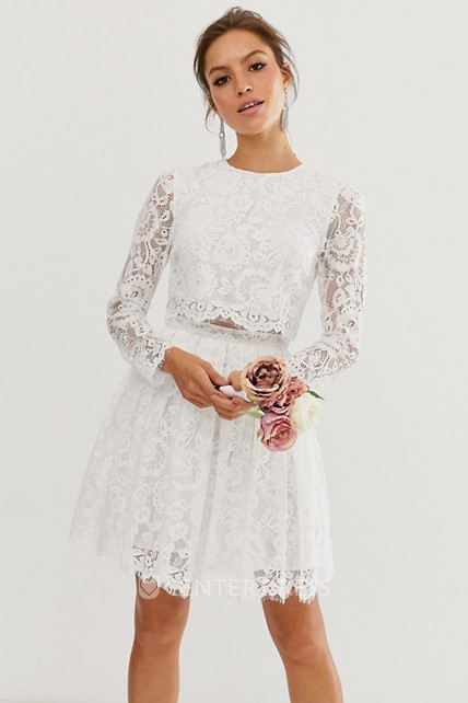 Simple Two Piece Long-sleeve Short Wedding Dress