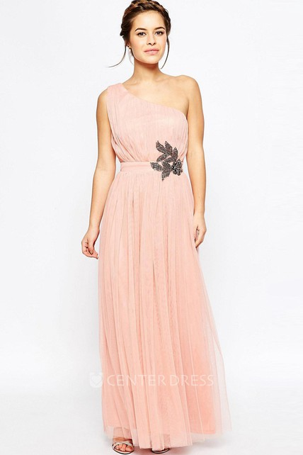 9d51ea971123 One-Shoulder Sleeveless Crystal Tulle Bridesmaid Dress With Pleats - UCenter  Dress