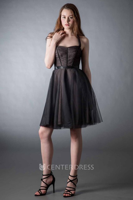 02519800b7d Mini A-Line Sleeveless Ruched Strapped Chiffon Bridesmaid Dress With Bow - UCenter  Dress