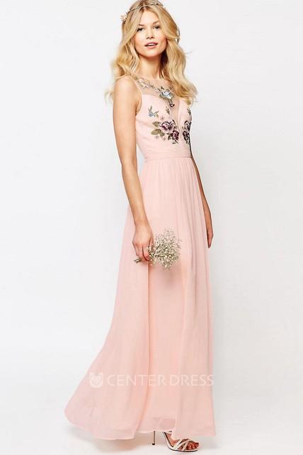 0c42f6eca938 sheath anklelength scoopneck sleeveless chiffon bridesmaid dress with  embroidery and illusion ucenter dress.
