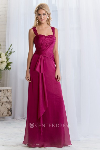 6fd6555a536 Sleeveless Square-Neck A-Line Bridesmaid Dress With Ruffles - UCenter Dress