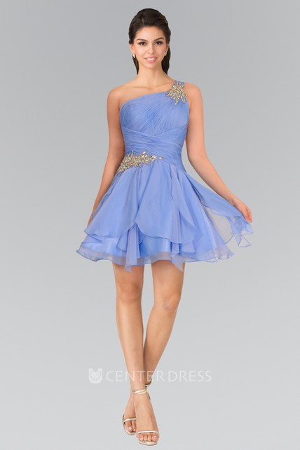 29cc985b53c A-Line Short One-Shoulder Sleeveless Chiffon Dress With Beading And Ruching  - UCenter Dress