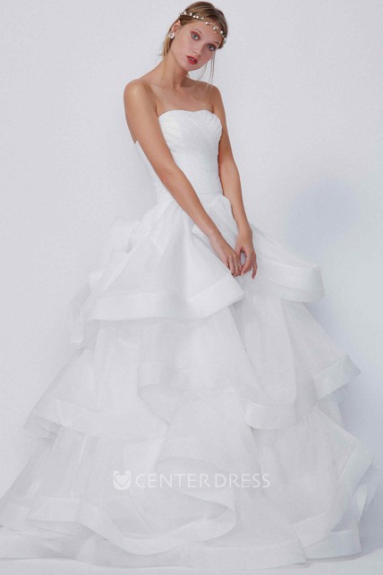a1e29d0d715a1 Ball Gown Strapless Sleeveless Floor-Length Ruched Organza Wedding Dress  With Ruffles And Tiers - UCenter Dress