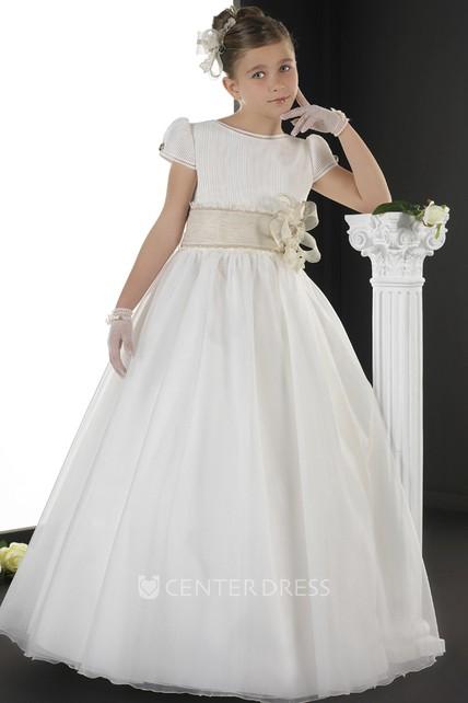 95555f83b A-Line Short-Sleeve Long Floral Jewel-Neck Organza Flower Girl Dress - UCenter  Dress