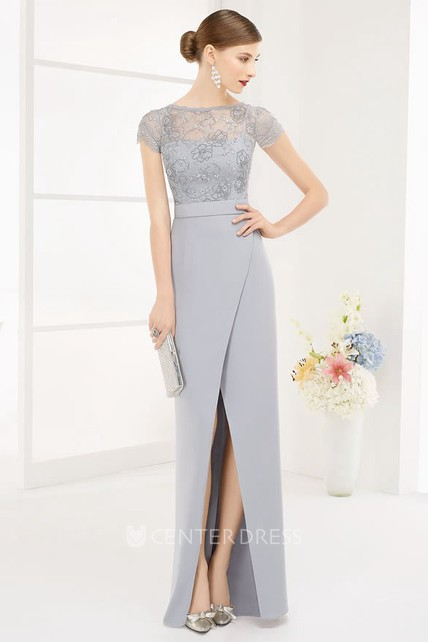 Bateau Short Sleeve Sequin Lace Top Long Prom Dress With Front Split ...