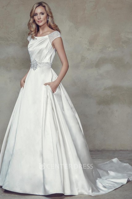 A Line Bateau Neck Jeweled Cap Sleeve Maxi Satin Wedding Dress With Beading And V Back Ucenter