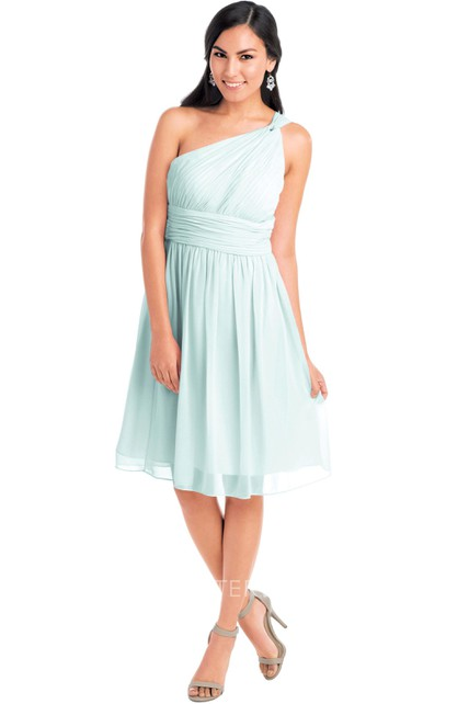 302ad8c2745 Knee-Length Sleeveless One-Shoulder Ruched Chiffon Muti-Color Convertible  Bridesmaid Dress With Straps - UCenter Dress