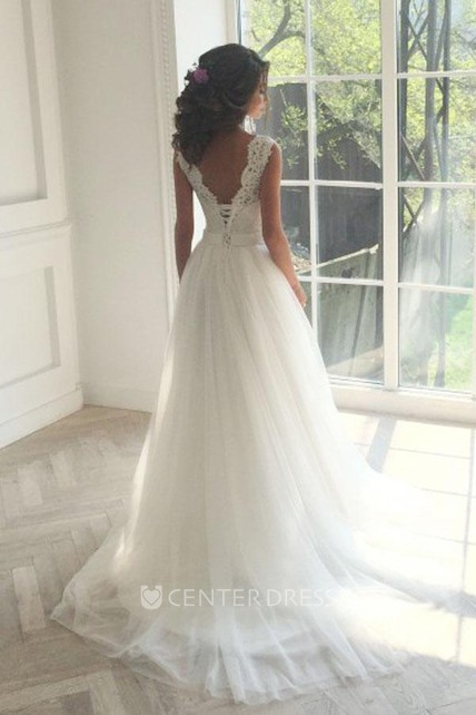 0c587d89750 A Line Jewel Lace Tulle Lace-up Corset Back Low-V Back Wedding Gown -  UCenter Dress