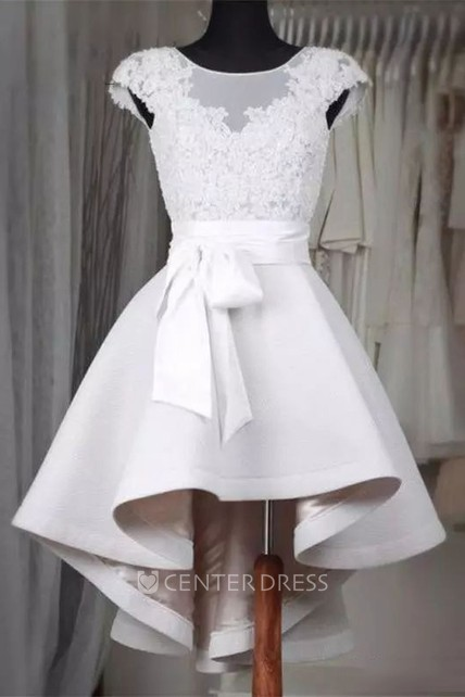 A-line High-low Short Sleeve Bateau Ruffles Sash Ribbon Satin Lace Homecoming Dress