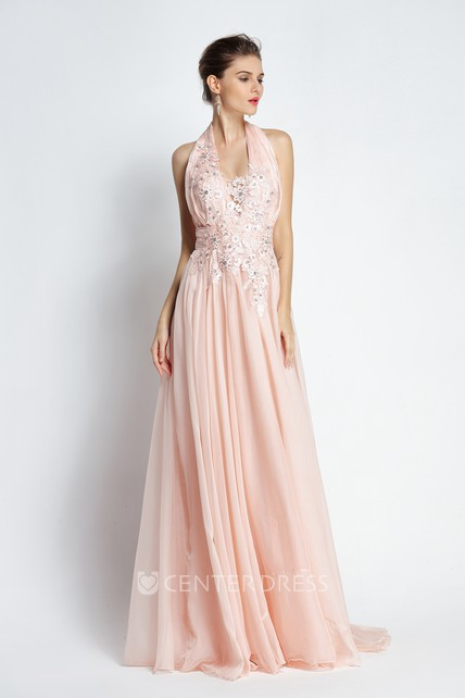 Floor-length Sweep Brush Train Sleeveless A-Line Halter Chiffon Prom Dress with Appliques and Beading