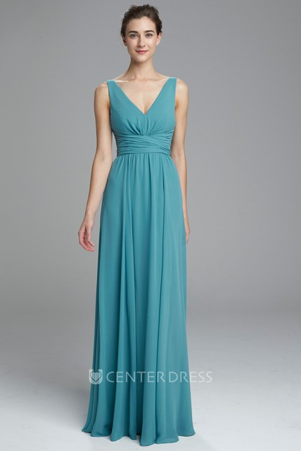 761cf9352737 Sleeveless V-Neck Chiffon Bridesmaid Dress With Pleats And Deep-V Back - UCenter  Dress