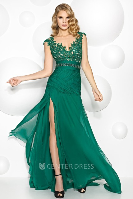 781c9c3c5cb45 V-Neck Cap Sleeve Jeweled Chiffon Prom Dress - UCenter Dress