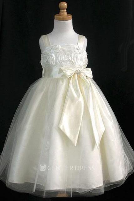 fa7586526d Embroideried Tea-Length Split-Front Bowed Tulle Satin Flower Girl Dress  With Sash - UCenter Dress