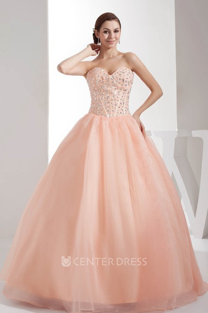 Sweetheart Sleeveless Tulle Ball Gown Prom Dress with Beading