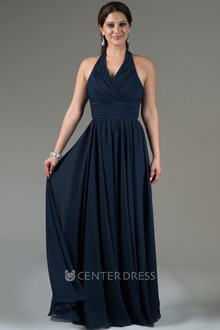 d145f6908b07 Halter Neck Pleated Chiffon Long Bridesmaid Dress With Criss-Cross Bodice - UCenter  Dress