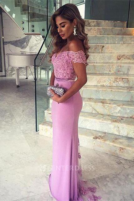 02efa635dc6 Elegant Lace Appliques Mermaid 2018 Prom Dress Off-the-shoulder Sweep Train  - UCenter Dress