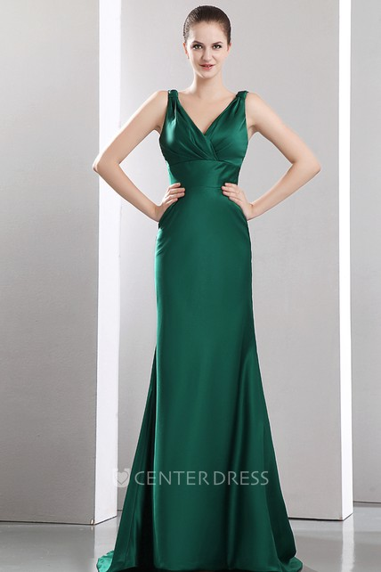 Sexy Sleeveless V Neck Satin Evening Dress With Sweep Train