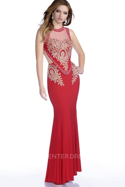 91f9327feb568 Mermaid Sleeveless Jersey Prom Dress With Keyhole Back And Rhinestone  Bodice - UCenter Dress