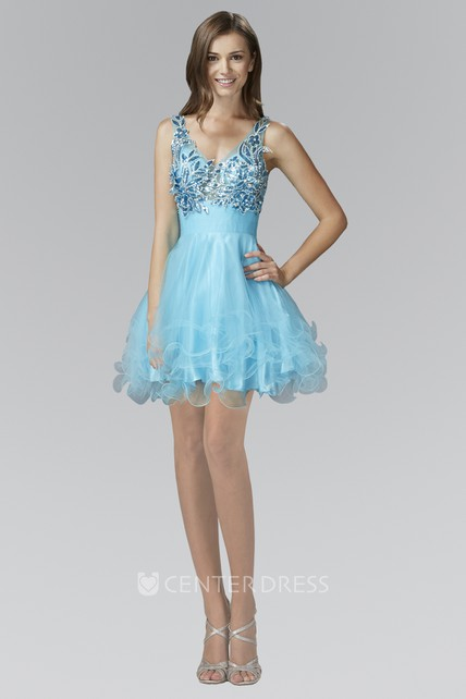 a12ca6cb76d7 A-Line Short V-Neck Sleeveless Tulle Satin Dress With Ruffles And Crystal  Detailing - UCenter Dress