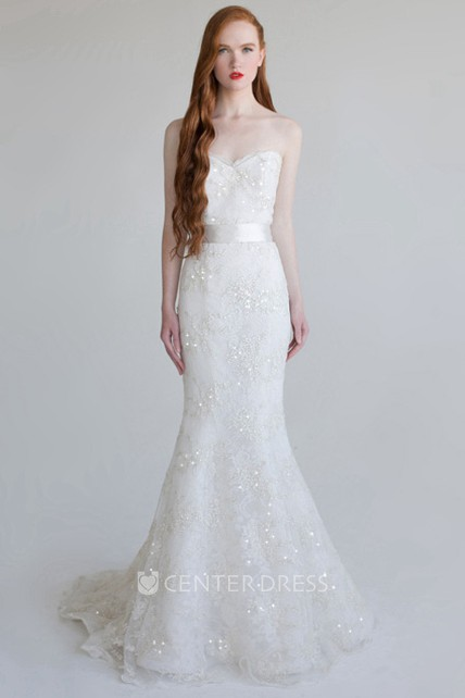 4aeb8fe1061a4 Trumpet Floor-Length Beaded Sweetheart Sleeveless Lace Wedding Dress With  Sequins - UCenter Dress