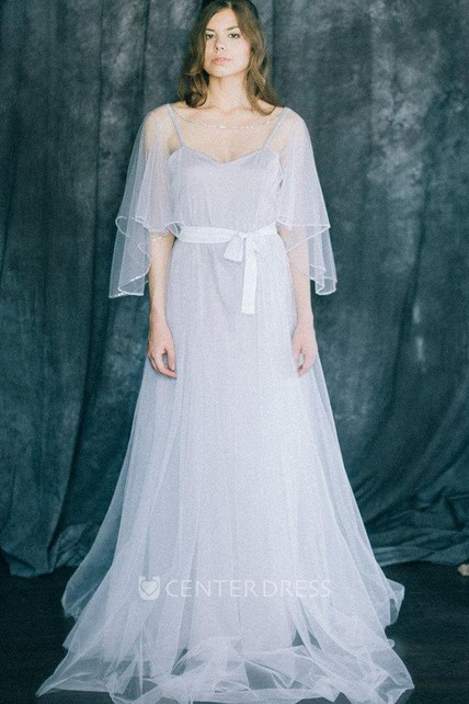eff2caba11e Wedding Lightness Bohemian Light Grey And White Soft Tulle And Bridal Gown  Boho Beach A Line Butterfly Sleeve Modern Rustic Dress - UCenter Dress