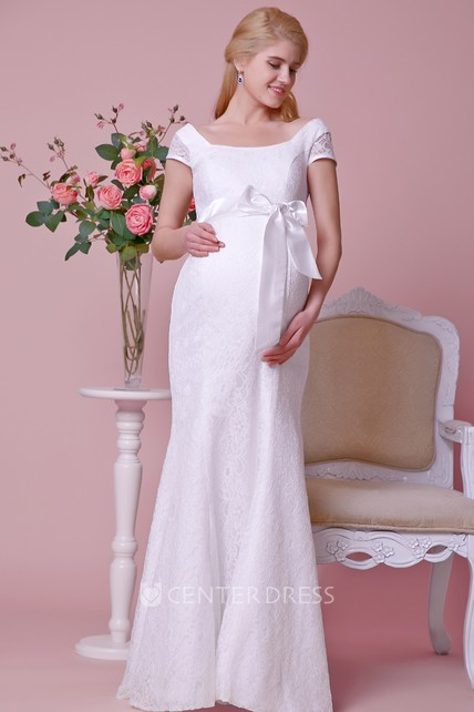 fa71134cf6d02d Cap-Sleeve Lace Mermaid Maternity Wedding Dress With Squared Neck and Sash  - UCenter Dress