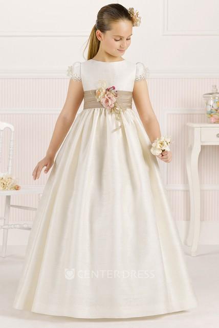 ad4fb1a58 A-Line Long Floral Jewel-Neck Short-Sleeve Satin Flower Girl Dress With  Pleats - UCenter Dress