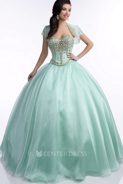 Chiffon Ball Gown With Sequined Corset And Sweetheart Neckline