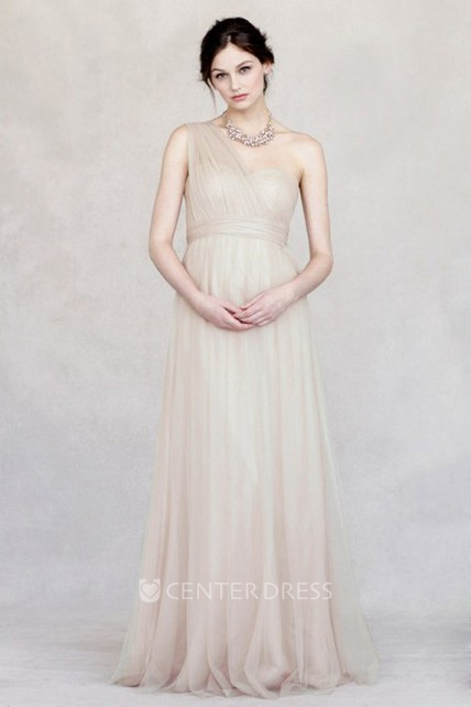 46edd64fffe0 Floor-Length Criss-Cross Empire One-Shoulder Sleeveless Tulle Bridesmaid  Dress - UCenter Dress