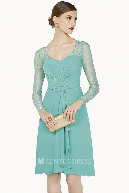 V Neck Illusion Long Sleeve Knee Length Chiffon Prom Dress With Cascading Skirt