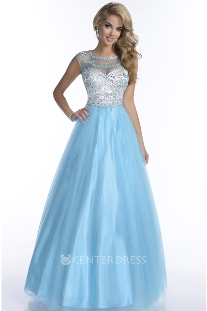 1d95a135cb Tulle Cap Sleeve Rhinestone Bodice A-Line Illusion Back Prom Dress -  UCenter Dress