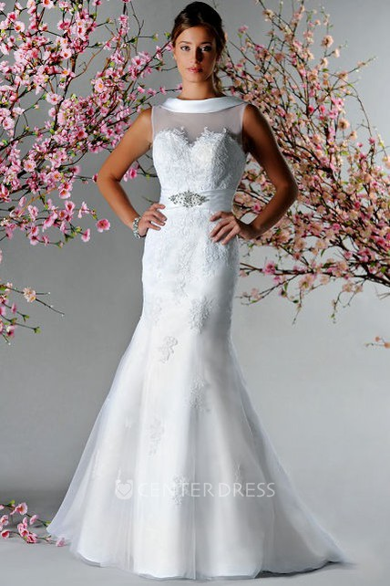 4cc44d7e17676b Satin Neck V Back Mermaid Bridal Gown With Appliques And Crystal - UCenter  Dress