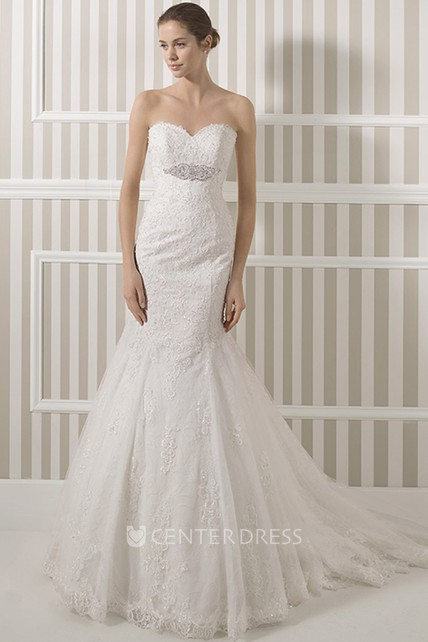 0414acd576 Trumpet Sweetheart Floor-Length Lace Wedding Dress With Waist Jewellery And Corset  Back - UCenter Dress