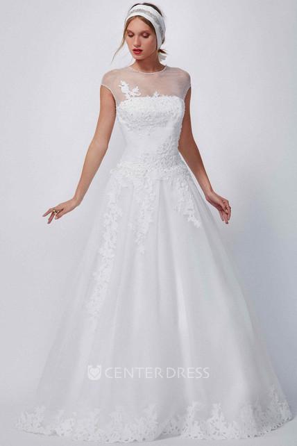 4369fb9c88c A-Line Appliqued High-Neck Floor-Length Cap-Sleeve Organza Wedding Dress -  UCenter Dress