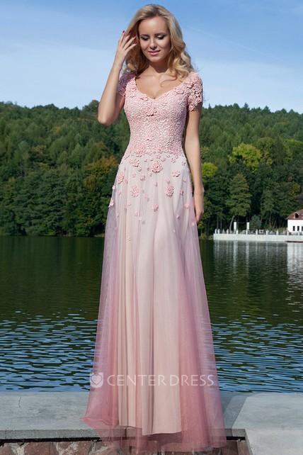 349e875ede0 Sheath Long Appliqued V-Neck Short-Sleeve Tulle Prom Dress - UCenter Dress