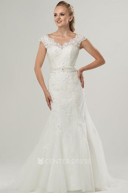 8ec1d33cf Sheath Cap-Sleeve V-Neck Jeweled Lace Wedding Dress With Bow - UCenter Dress