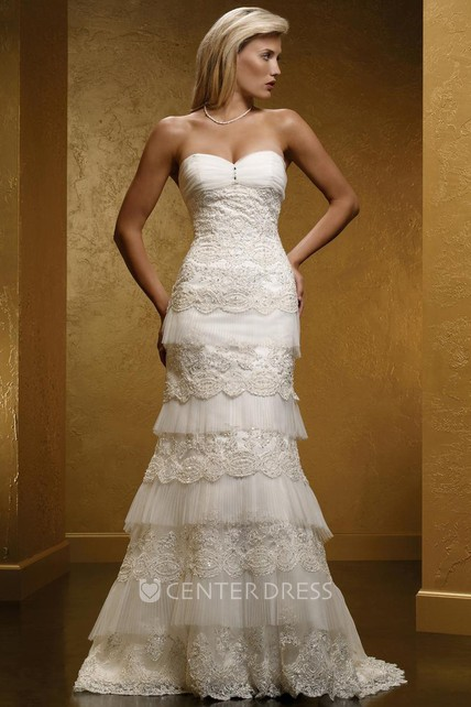 7566e8d1c7 Sheath Sweetheart Long Sleeveless Tiered Lace Wedding Dress With Appliques  And Corset Back - UCenter Dress