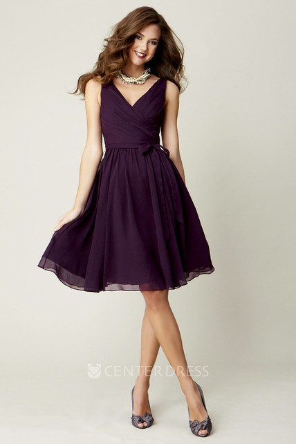 884831f19a18 Knee-Length Sleeveless Criss-Cross V-Neck Chiffon Bridesmaid Dress With Bow  - UCenter Dress