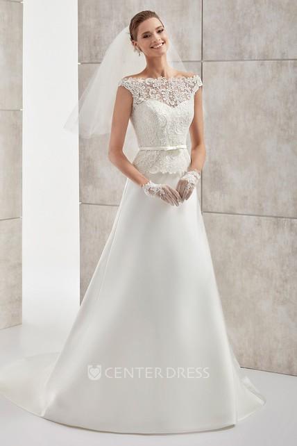 a6f0f9158 Jewel-Neck Cap-Sleeve Satin Wedding Dress With Lace Bodice - UCenter Dress