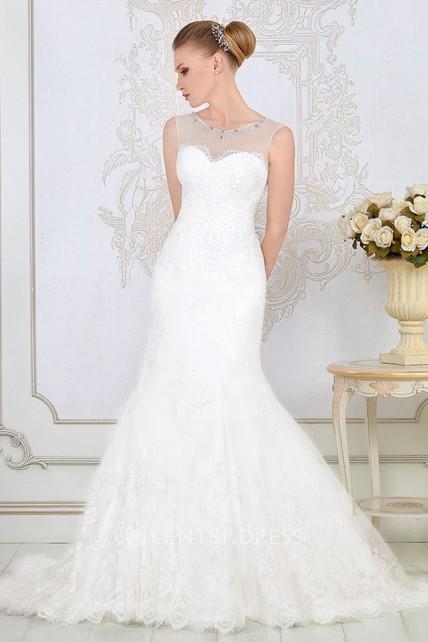 0e94b1c143c Mermaid Appliqued Maxi Scoop-Neck Lace Wedding Dress - UCenter Dress