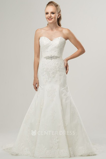 92b5b712ef Trumpet Long Sweetheart Jeweled Lace Wedding Dress With Appliques And  Beading - UCenter Dress