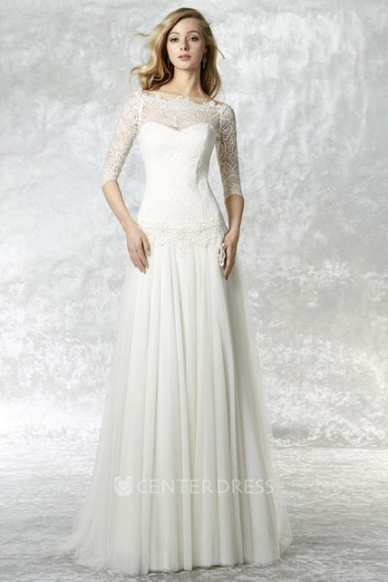 50899ec1a4df Sheath Bateau Neck 3-4 Sleeve Lace Tulle Wedding Dress With Brush Train - UCenter  Dress