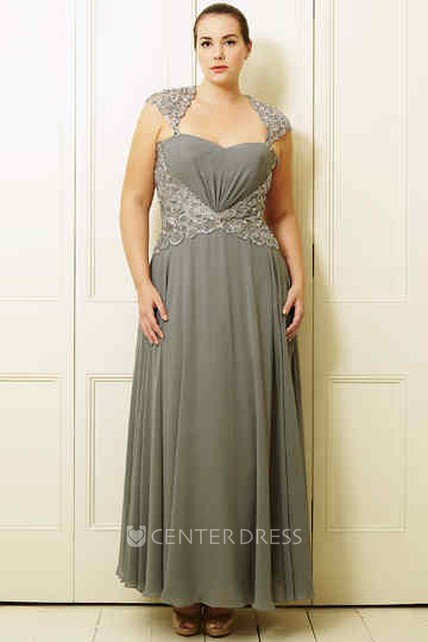 a87225d3868 A-Line Sleeveless Beaded Ankle-Length Queen-Anne Chiffon Plus Size Prom  Dress - UCenter Dress